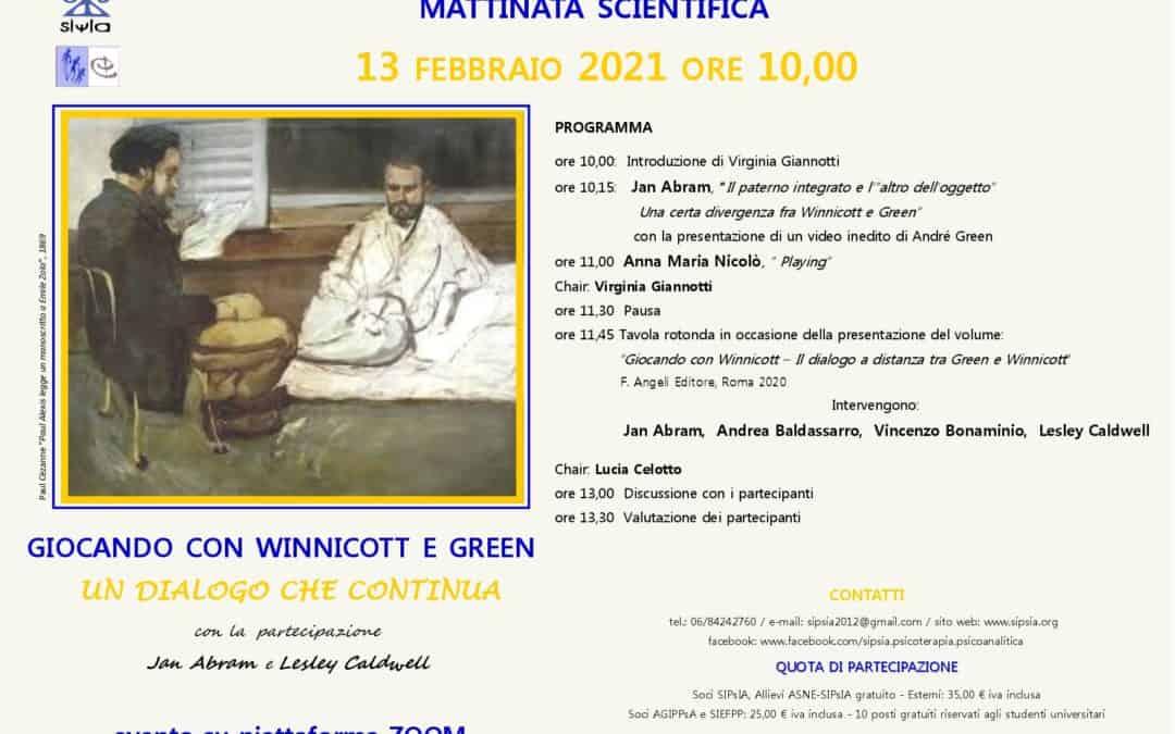 """Mattinata scientifica """"Giocando con Winnicott e Green. Un dialogo che continua"""""""